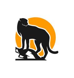 animal cheetah logo on prowl vector image