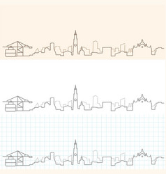 Antwerp hand drawn skyline vector