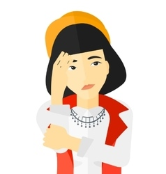 Ashamed young woman vector