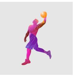 basketball player slam dunk color vector image