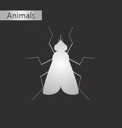 Black and white style icon of fly vector