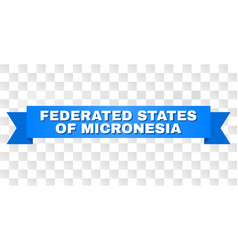 Blue ribbon with federated states micronesia vector