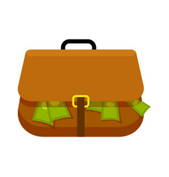 brown briefcase full of green money flat theme vector image