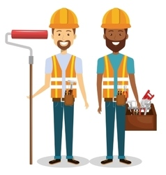 Builders group avatars characters vector