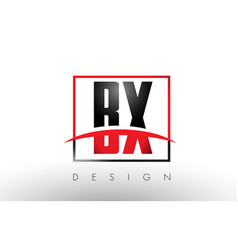 Bx b x logo letters with red and black colors and vector