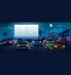 Car cinema or drive in movie theater auto theatre vector
