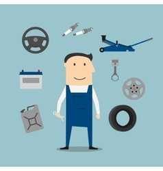 Car mechanic profession and equipment icons vector image