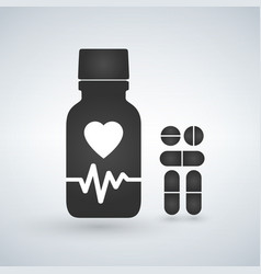 cardio heart pill bottle icon modern pill bottle vector image