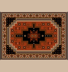 Carpet with red-brown black beige and brown shad vector