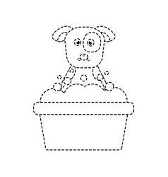 Cartoon dog grooming foam clean vector