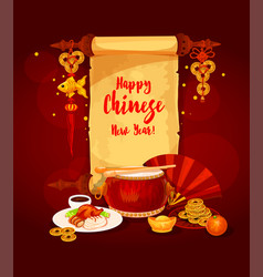 Chinese new year scroll for greeting card design vector