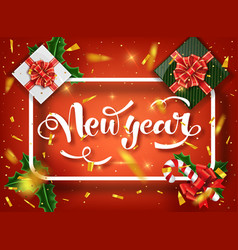 christmas design template calligraphic new vector image
