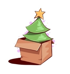 Christmas tree in a box vector image