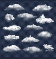 Clouds realistic nature sky weather symbols rain vector