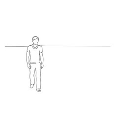 Continuous one line drawing walking office man vector