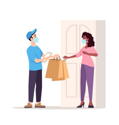 courier and customer in surgical masks semi flat vector image