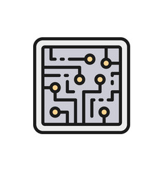 cpu computer chip electronic circuit processor vector image
