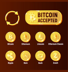 cripto currency exchange icon set vector image