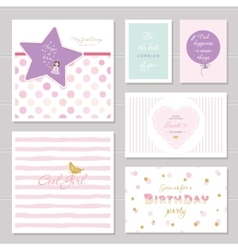 Cute cards design with glitter for teenage girls vector image