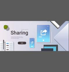 data share online internet sharing network top vector image
