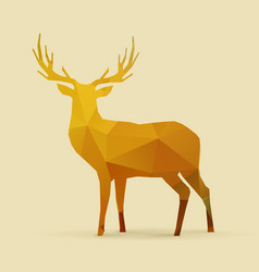 deer polygon golden silhouette vector image