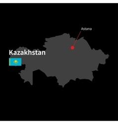 Detailed map of Kazakhstan and capital city Astana vector