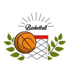 emblem basketball game icon vector image