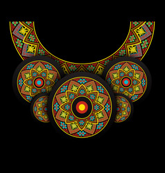 Embroidery folk necklace on black vector
