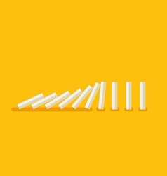 falling white dominoes on yellow background vector image