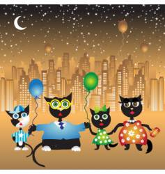 Family walk on city cats vector