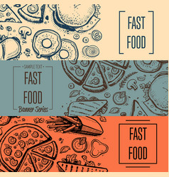Fast food vintage hand drawn flyer set vector