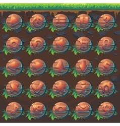feed fox gui match 3 set wooden buttons vector image