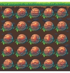Feed the fox GUI match 3 set wooden buttons vector image