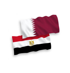 Flags qatar and egypt on a white background vector