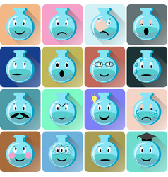 Flask emoticons icons set vector