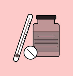 Flat icon design collection thermometer with bank vector