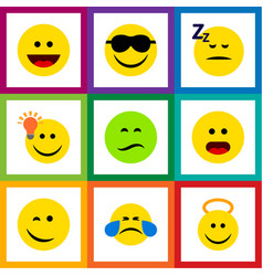 Flat icon face set of laugh angel happy and vector