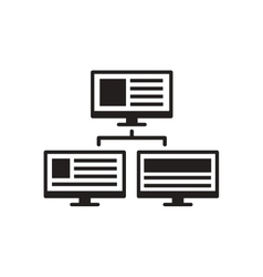 Flat icon in black and white computer network vector