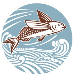 Flying fish with waves retro style vector