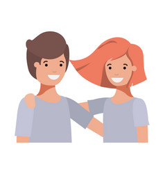 Friendly teenagers couple characters vector