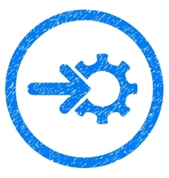 Gear Integration Rounded Icon Rubber Stamp vector
