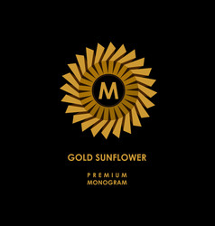 golden sunflower template for creating logo vector image