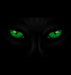 Green eyes black Panther on dark vector