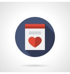 Greeting card with heart round flat icon vector image