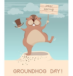 Groundhog day marmot cartoons vector image