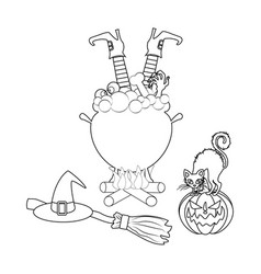 halloween witch cauldron vector image