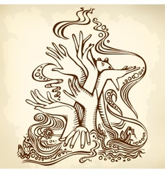 Hand tree brown vector