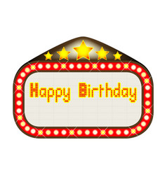 Happy birthday theatre marquee vector