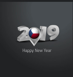 Happy new year 2019 grey typography with czech vector