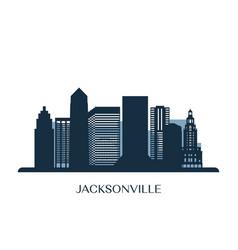 Jacksonville skyline monochrome silhouette vector